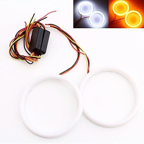 Qasim 1-Pair 100MM White+Amber Switchback 132SMD 4014 LED Halo Ring Angel Eyes DRL Warning Lights 12V ()