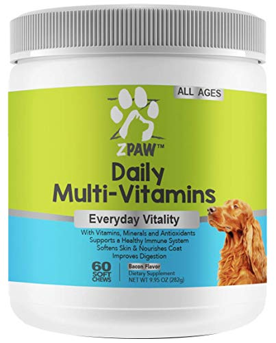 ZPAW Daily Multivitamins for Dogs of All Ages | Natural Dog Vitamins and Supplements for a Strong Immune System and Healthy Nervous System with Minerals and Antioxidants - 60 Chewable Treats