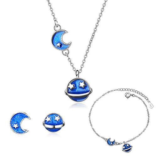 ISAACSONG.DESIGN 925 Sterling Silver Universe Planet Moon Star Enamel Blue Pendant Necklace Bracelet Earring Jewelry Set for Girls and Women (Planet Moon Blue Jewelry Set)
