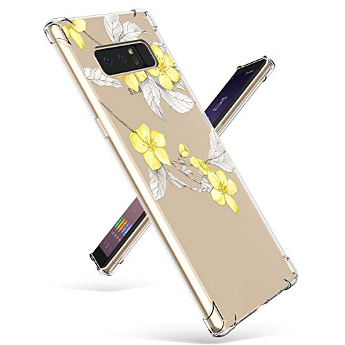 Compatible with Samsung Note 8 Case, GVIEWIN Slim Flora Clear Case Shock Absorption Technology Bumper Soft TPU Cover for Note 8 (Yellow Flowers)