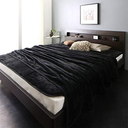 大きいサイズのマイクロファイバー毛布+敷パッド (セット) キング/ジェットブラック【AC109304】 B07L7LGYXN  キング