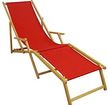 Amazon.de: Erst-Holz® Gartenliege Liegestuhl rot Fußteil Deckchair ...