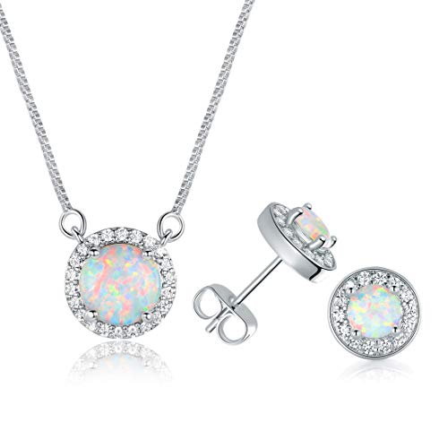 DwearBeauty White Gold Plated Opal Necklace and Earrings Set Pack