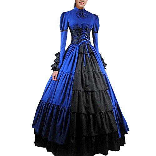 [Partiss Women Bowknot Stand Collar Gothic Victorian Dress Costumes S,Blue] (Comic Con Costumes For Females)
