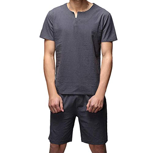 2 Piece Outfits Loungewear for Men,NEWONESUN Mens Pajamas Cotton Linen Short Sleeve T-Shirt Shorts Suit Tracksuit Gray