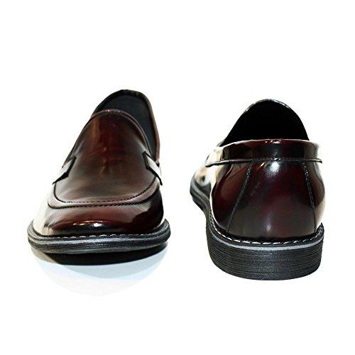 PeppeShoes Modello Flore - Handmade Italiennes Cuir Pour des Hommes Bordeaux Mocassins et Glissades Flâneurs - Cuir de Vachette Cuir Souple - Glisser Sur
