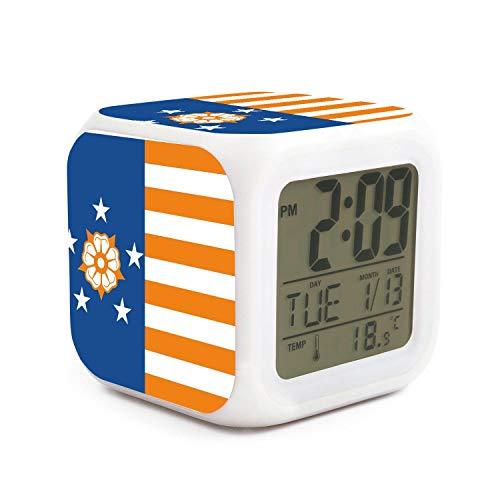 New York Jets Desk Clock - kanidjkd Wake Up New York State Flag Redesign Dimmer Snooze LED Nightlight Bedroom Desk Travel Digital Bell Alarm Clock for Kids Girls