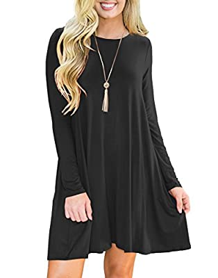 PrinStory Women's Pockets Casual Swing T-shirt Dresses