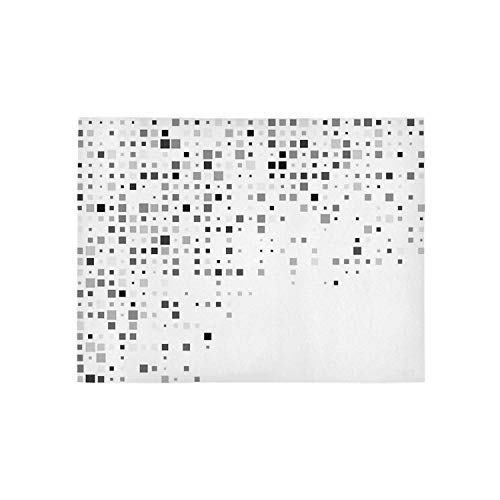 Grey Decor Utility Area Rug,Digital Pattern Composed of Geometric Elements Radiant Rectangle Parallel Picture for Home,31