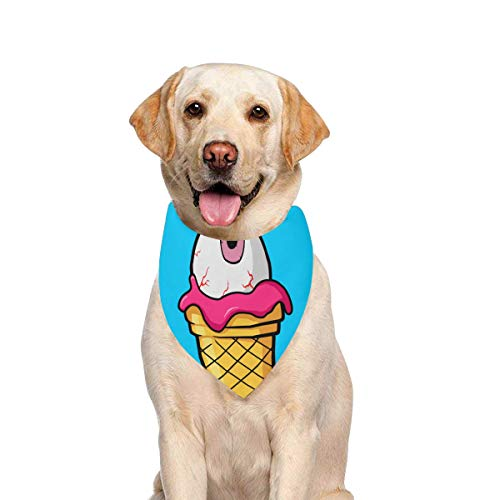 JTMOVING Dog Scarf Ice Cream Cone Pink Eyeball Printing Dog Bandana Triangle Kerchief Bibs Accessories for Large Boy Girl Dogs Cats Pets Birthday Party Gift
