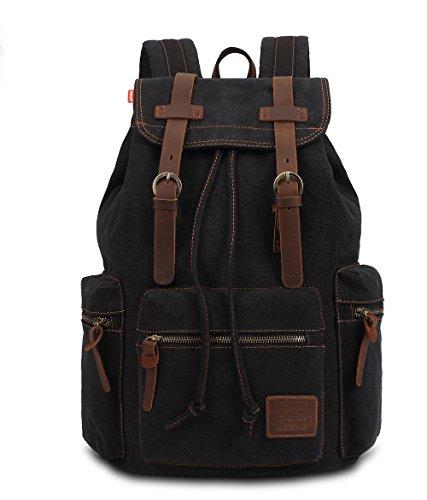 Vintage Canvas Backpack For Unisex (Black) - 3