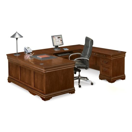 Deep Walnut U-Desk with Right Return - NBF Signature Series Pont Lafayette Collection (Desk Corner Right U-shaped)