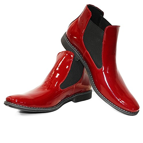 Boots Leather Red Ruby Patent Mens Slip Modello PeppeShoes Handmade Italian Chelsea Cowhide Ankle Leather On xwI5fFYz