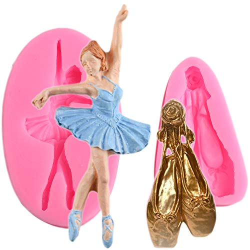 Mujiang (Set of 2) Music Ballet Dancer Ballerina Girl Silicone Molds Ballet Shoes Fondant Candy Soap Molds Cake Decorating Topper Baking Molds
