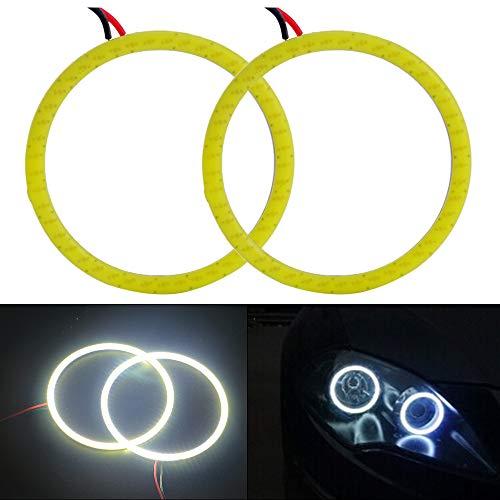 Everbright 2-Pack【 100MM 3.94″,12V White Car Angel Eye 】COB Light Halo Circle Ring Head light Lamp for BMW Benz Headlight