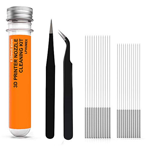 (3D Printer Nozzle Cleaning Kit - 22pcs Set, 0.35mm 0.40mm Needles and Tweezers Tool kit, Perfect Companion for 3D Printer- Alternative for 0.4mm Drill Bits for Unclogging 3D Print)