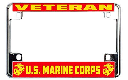 Motorcycle Marine Corps - Veteran U.S. Marine Corps Chrome Metal Bike Motorcycle License Plate Frame Tag Holder
