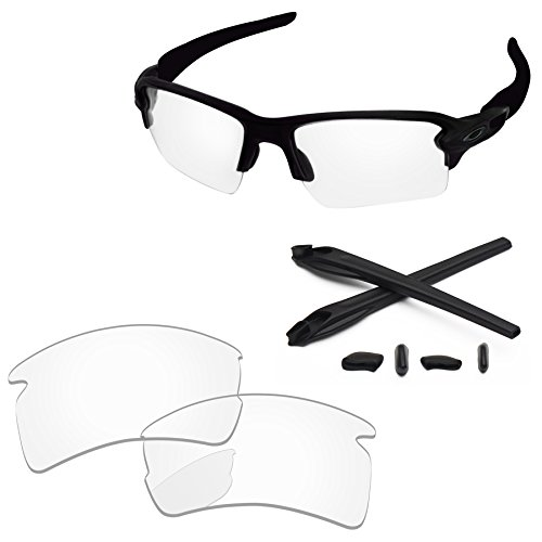 PapaViva Replacement Lenses & Rubber Kits for Oakley Flak 2.0 XL Crystal - Clear Crystal Lenses