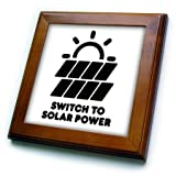 3dRose Carsten Reisinger - Illustrations - Switch to Solar Power Electric Power from The Sun Alternative Energy - 8x8 Framed Tile (ft_294721_1)