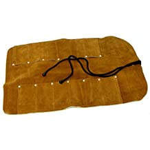 12 Pocket Suede Leather Tool Roll for Woodcarving Tools, Knives, Chisels, Screwdrivers, Wrenches