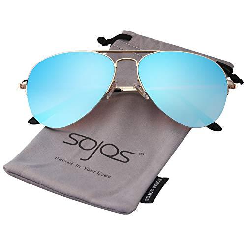 SOJOS Classic Aviator Mens Womens Sunglasses Metal Half Rim Mirrored Lens INSPIRATION SJ1106 with Gold Frame/Gradient Blue Mirrored ()