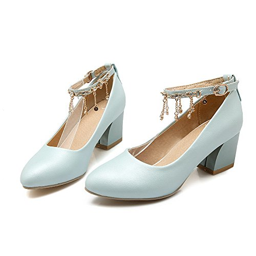 VogueZone009 Women's Kitten-Heels Solid Buckle Soft Material Pointed Closed Toe Pumps-Shoes Blue KcfP7jM