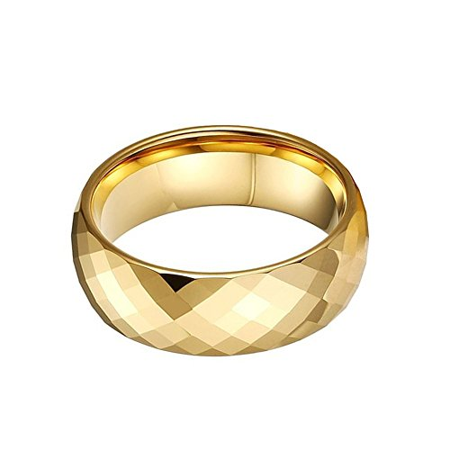 CAFARELLY TOP Multi-Faceted Pure Gold Plated Tungsten Ring Wedding Jewelry Size 10.5 by CAFARELLY TOP (Image #3)