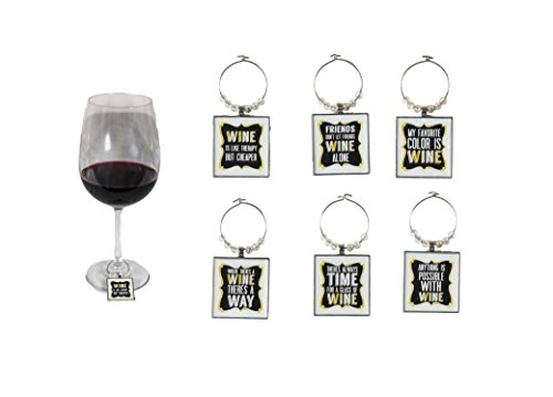 (Funny Art Quote Wine Charm Set of 6 Fun inspirational word Unique Ring Theme Label Champagne Glass Marker Accessories Gift Idea for Women Men Boy Girl kid Happy Birthday Party Event engagement)