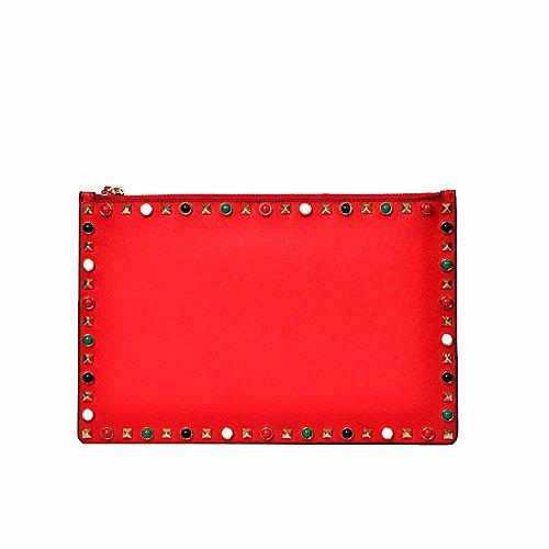 black pochette De cm rivet sac de Gueules peau vache enveloppe bag30 20 wzpWa