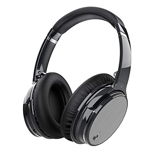 Zhicity Active Noise Cancelling Bluetooth Headphones with Mic, Stereo Wireless Headset with Microphone & Comfortable Earpads & 12 Hours Playtime & Wireless Headphones for Cellphone/Tablet (Silver)