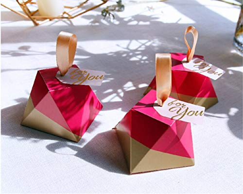 LASLU Marble Favor Boxes, Silver Wedding Favor Boxes and Decoration. Hexagonal Wedding Candy Favor Boxes with Ribbons for Wedding and Bridal Shower Party (50pcs, Rose Diamond Type)