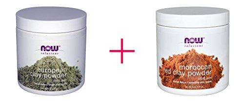 Now Foods, Solutions, European Clay Powder, 6 oz AND Now Foods, Solutions, Moroccan Red Clay, Facial Detox, Powder, 6 oz - BUNDLE