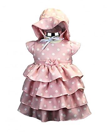 BIMARO Baby Mädchen Kleid Helena rosa mit Punkte weiß Babykleid ...