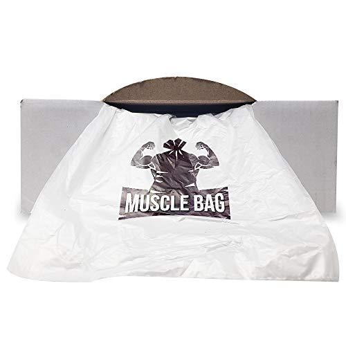 Muscle Bag - Trash Bags, 33 Gallon (250 Count Club-Size Pack) Antimicrobial, Odor Protective (Extra Thick, 16 micron) Clear, Can Liner Garbage Bags, 30 to 35 Gallon Capacity (Best Trash Bag Value)