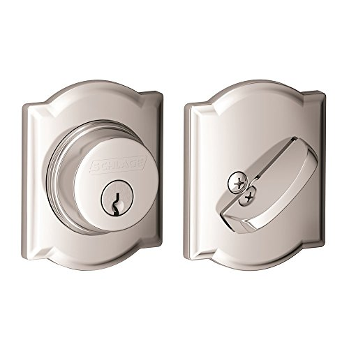 - Schlage Lock Company Single Cylinder Deadbolt with Camelot Trim, Bright Chrome (B60 N CAM 625)