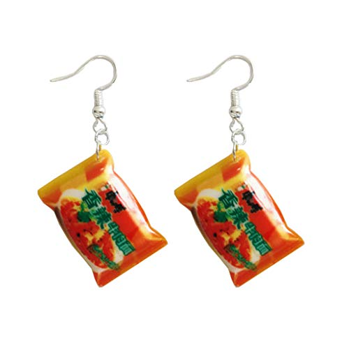 YOUSIKE Funny Small Simulation Instant Noodle Chili Food Drop Earrings Fashion Jewelry