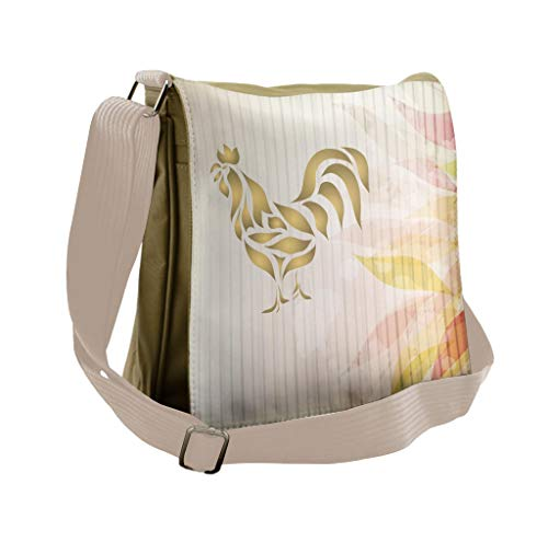 (Lunarable Rooster Messenger Bag, Tattoo Style Animal Figures, Unisex Cross-body)