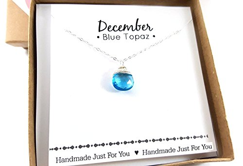 (December Birthstone Blue Topaz Quartz Necklace - Sterling Silver Briolette Teardrop Jewelry - Gift for)