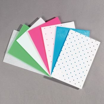 Rolyan Splinting Material Sheets, Aquaplast-T Sample Pack, Includes 1 Each Aquaplast-T Superperf, Solid White, Pink, Blue, & Green, 1/8