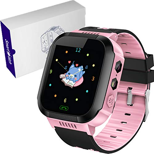 Kids Smart Watches Phone – 1.4″ Touch Screen Children Phone Wristwatch with Call SOS Voice Chat Camera Flashlight Alarm Learning Games Toy Birthday Gifts for Boys Girls Age 4-12 (02 GM9 Pink)