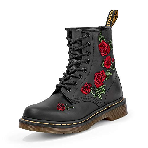 Dr. Martens Womens 1460 Vonda Black Softy T Floral Fashion Ankle Boots Size 5