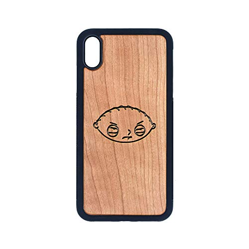 The Family Guy Stewie Head - iPhone Xs MAX CASE - Cherry Premium Slim & Lightweight Traveler Wooden Protective Phone CASE - Unique, Stylish & ECO-Friendly - Designed for iPhone Xs MAX