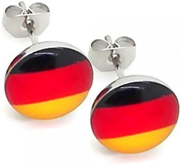 2 Aretes Pendientes de Botón acero bucles oreja Germany Alemania Bandera alemana: Amazon.es: Joyería