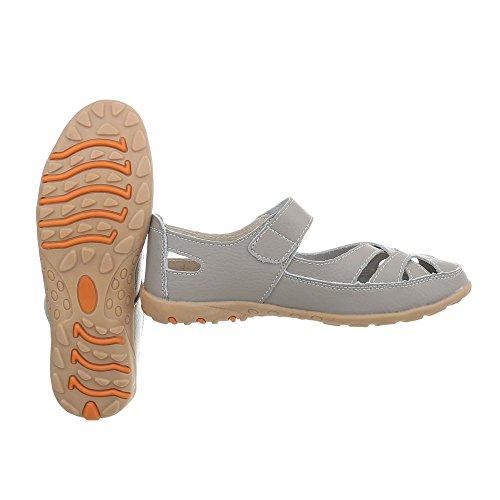 Riemchensandalen Leder Damenschuhe Klettverschluss Ital-Design Sandalen & Sandaletten Grau