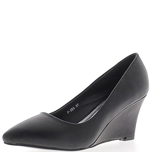 Chaussures femme compensées noires bouts pointus à talon de 7 cm