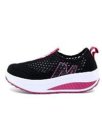 SAGUARO Ladies Soft Toning Rocker Shoes Womens Mesh Sports Tennis Shoes Slip On Wedges Platform Shoes Lightweight Fitness Walking Shoes
