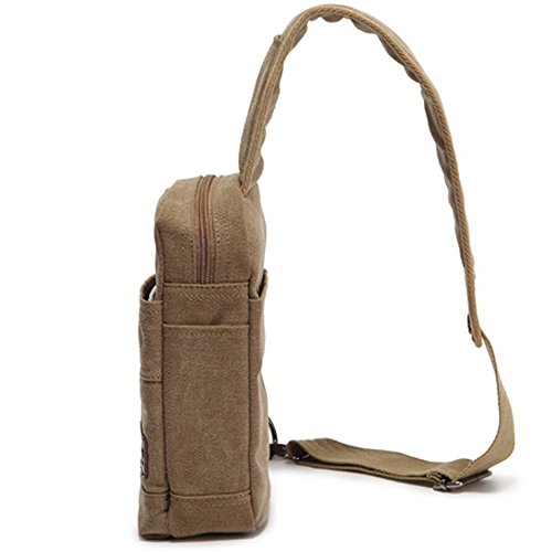 Men's Canvas Zipper color Outdoor Shoulder Khaki Messenger Bag Waterproof Sports Chest TqrtwT