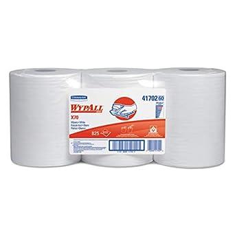 WypAll X70 uso prolongado limpiaparabrisas (reutilizable, 41702), centro Pull rollo, rendimiento de larga duración, color blanco, 3 rollos, 275 hojas/rollo: ...