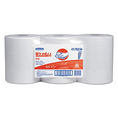 WypAll 41702 X70 Cloths, Center-Pull, 9 4/5 x 13 2/5, White, 275 per Roll (Case of 3 Rolls) ()