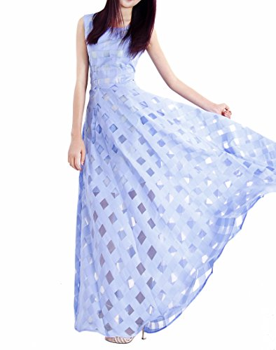 Afibi Party Beach Casual Women's Blue Dresses Long Dress Slim Maxi pnqxrap
